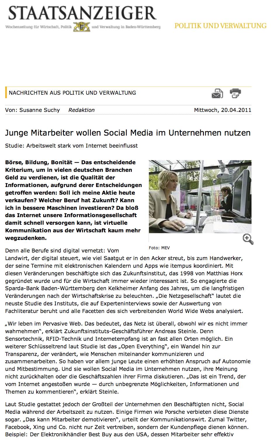Staatsanzeiger BW Social Media im Unternehmen